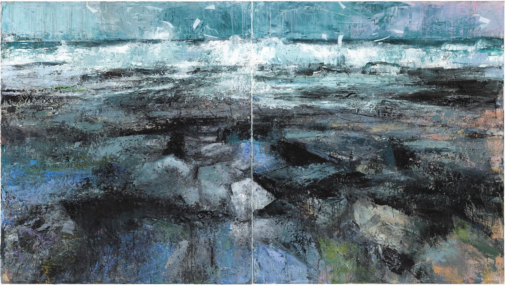Ocean frequency diptych 2012 183 x 325 cm 6' x 10' 8 oil on canvas