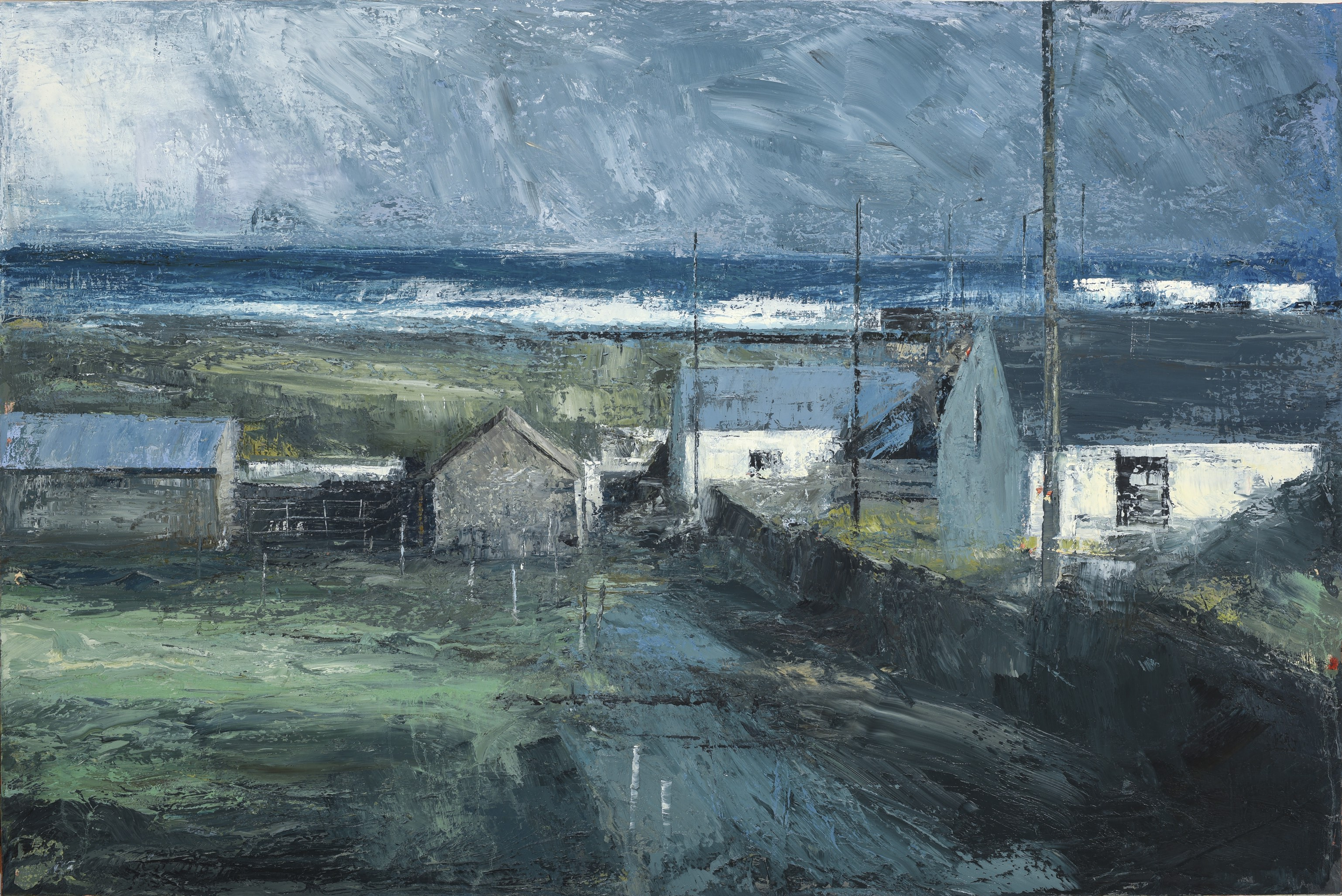Cottages by the Pier 2017 oil on canvas,  39 1/4 x 59 inches