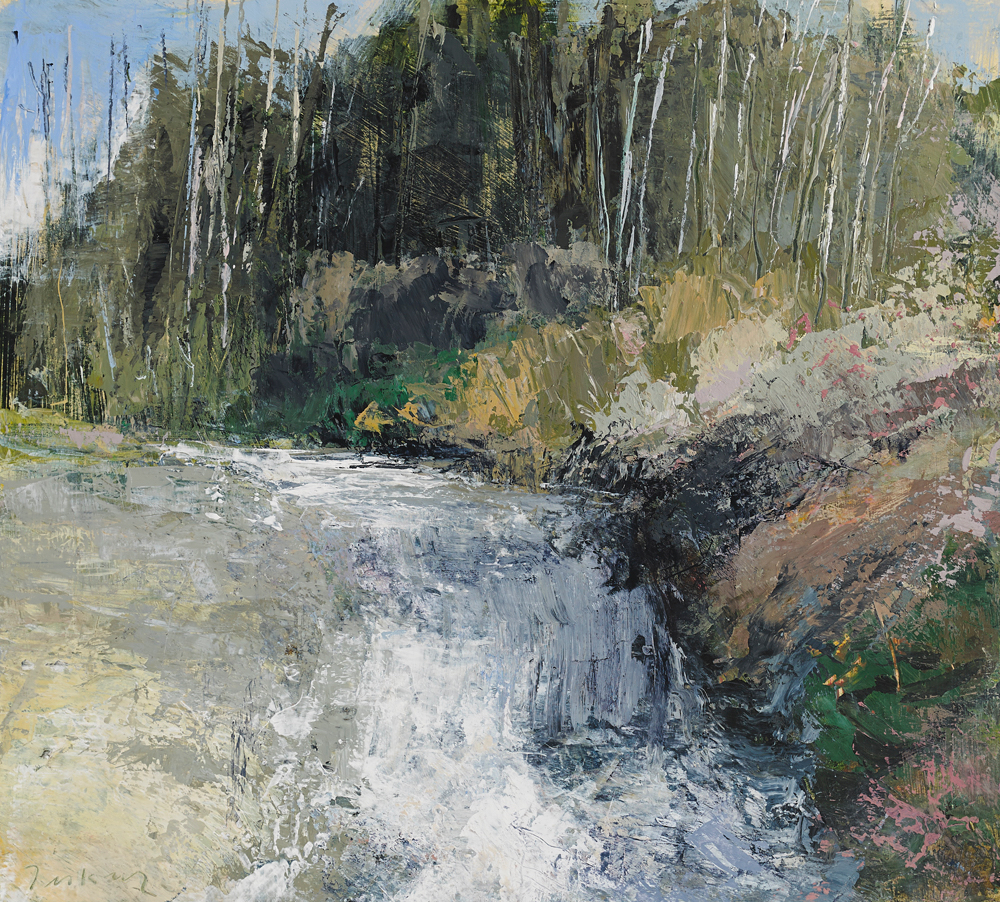 River, Coomerkane Valley 2013,  acrylic on paper   15 x 16 inches