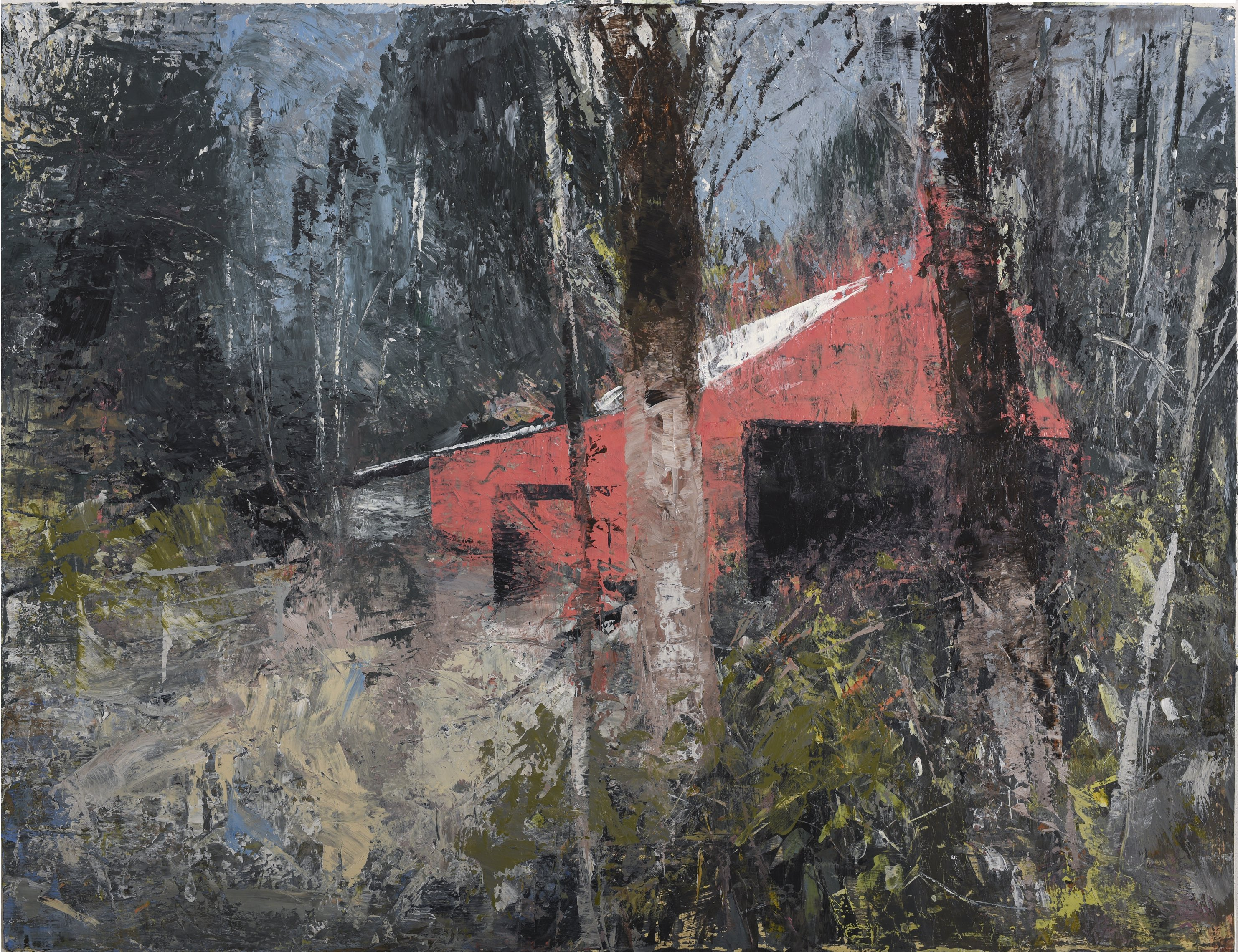 The Lee Valley, Barn 2016 acrylic on paper  30 x 40 inches